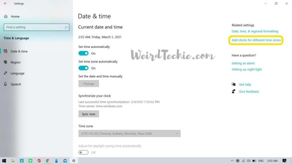 add multiple time zones clocks in Windows 10
