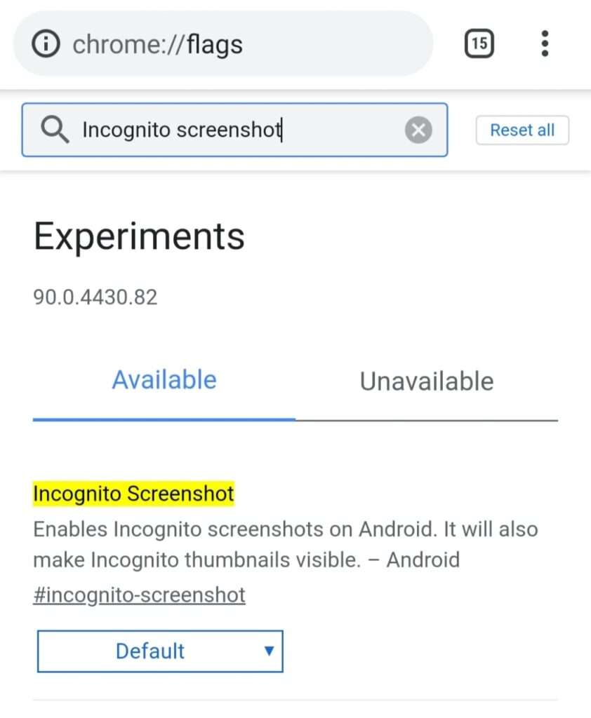 how to take screenshot in incognito mode android